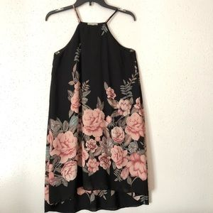 Black Floral Prink Maxi Dress Sz S